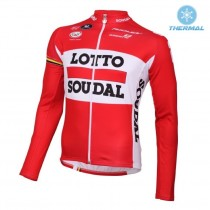 2016 Lotto Soudal rouge Maillot thermique manches loungues