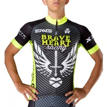 2016 Braveheart Wing Noir-vert Maillot Cyclisme manches courtes
