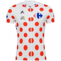 2018 Tour De France Mountains Classification Dot Maillot Cyclisme manches courtes