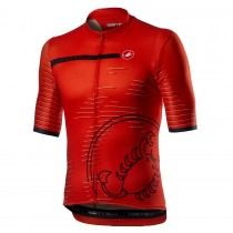 2021 Casteli Scorpione rouge Maillot Cyclisme manches courtes