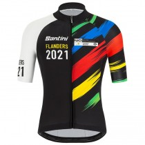 2021 Flanders UCI Monde champion Maillot Cyclisme manches courtes